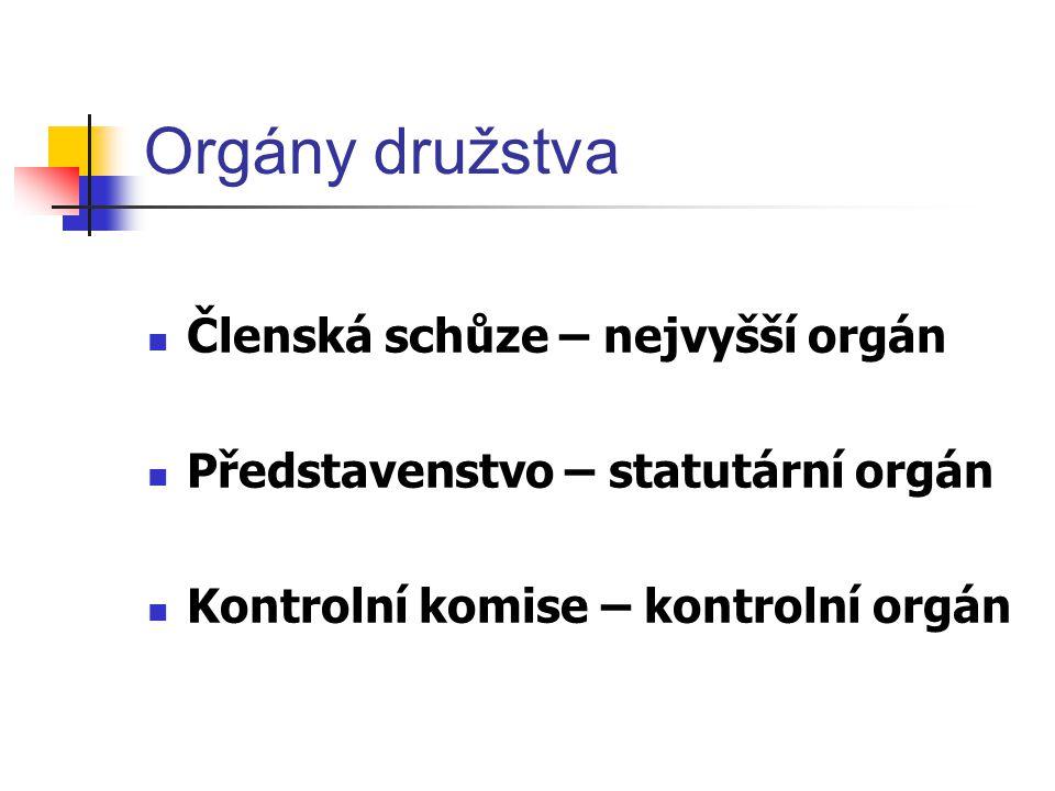 Orgány družstva Členská schůze – nejvyšší orgán