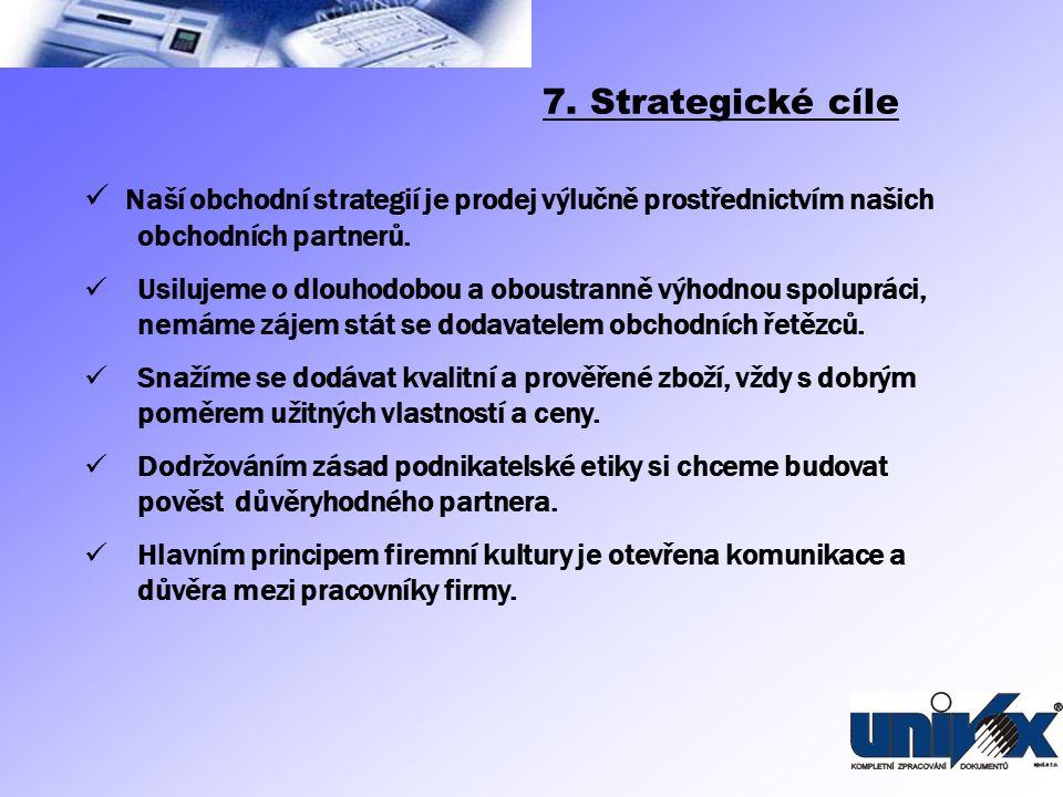 7. Strategické cíle Naší obchodní strategií je prodej výlučně prostřednictvím našich obchodních partnerů.