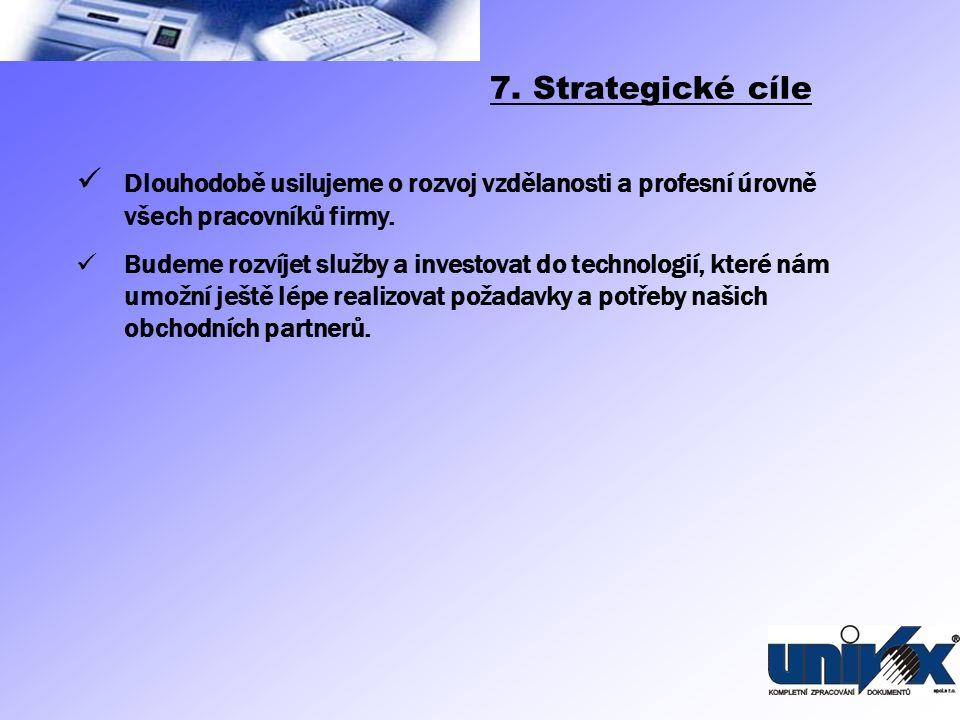 7. Strategické cíle Dlouhodobě usilujeme o rozvoj vzdělanosti a profesní úrovně všech pracovníků firmy.