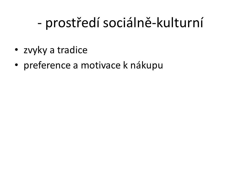 - prostředí sociálně-kulturní