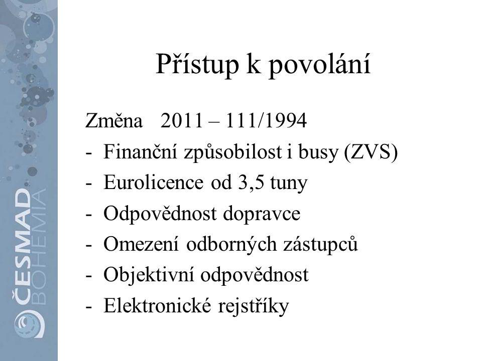 Přístup k povolání Změna 2011 – 111/1994