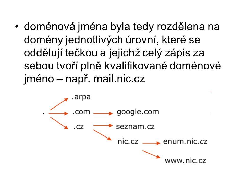 doménová jména byla tedy rozdělena na domény jednotlivých úrovní, které se oddělují tečkou a jejichž celý zápis za sebou tvoří plně kvalifikované doménové jméno – např.