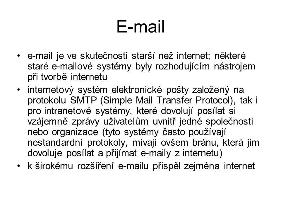 E-mail e-mail je ve skutečnosti starší než internet; některé staré e-mailové systémy byly rozhodujícím nástrojem při tvorbě internetu.
