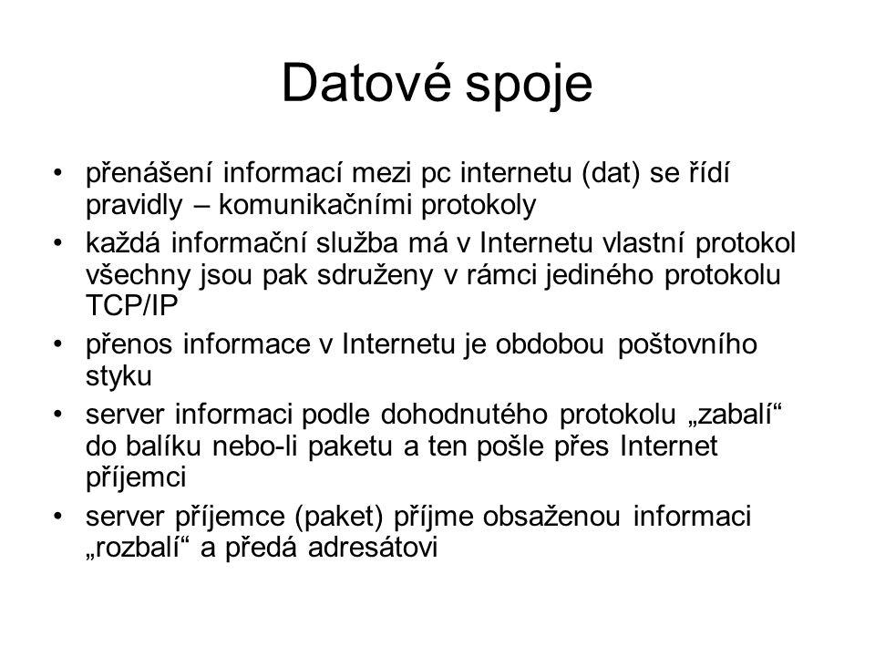 Datové spoje přenášení informací mezi pc internetu (dat) se řídí pravidly – komunikačními protokoly.