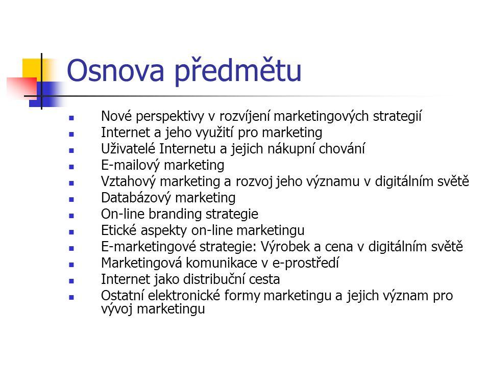 Osnova předmětu Nové perspektivy v rozvíjení marketingových strategií