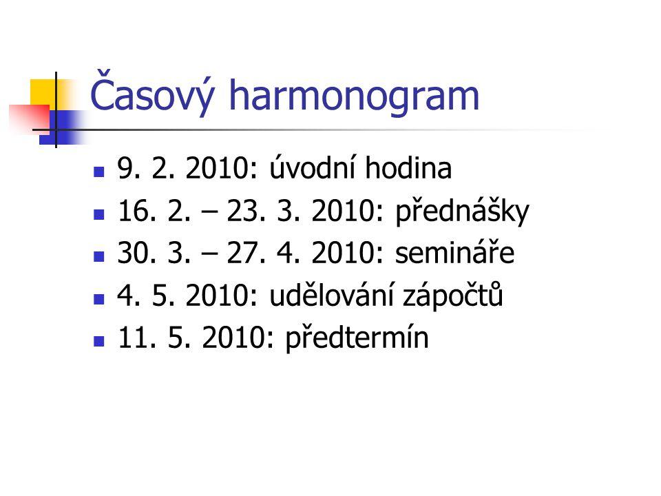 Časový harmonogram 9. 2. 2010: úvodní hodina