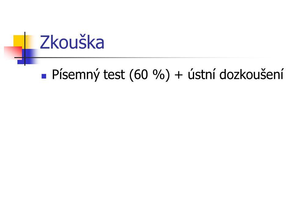Zkouška Písemný test (60 %) + ústní dozkoušení