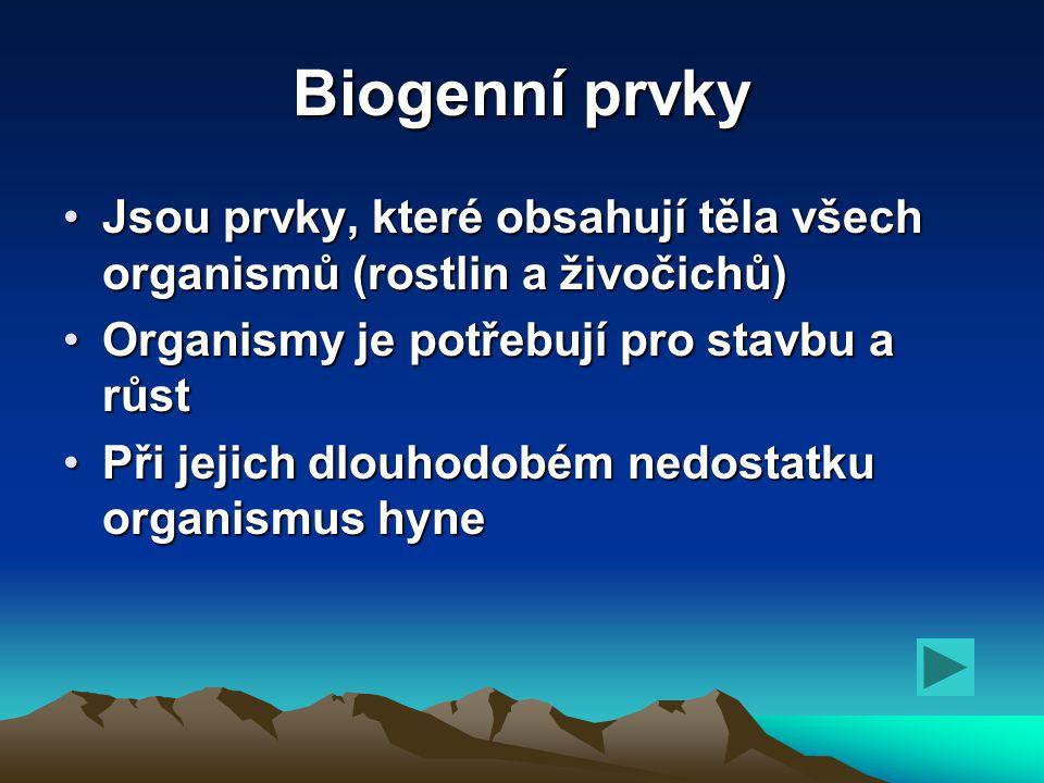 Biogenní prvky Jsou prvky, které obsahují těla všech organismů (rostlin a živočichů) Organismy je potřebují pro stavbu a růst.