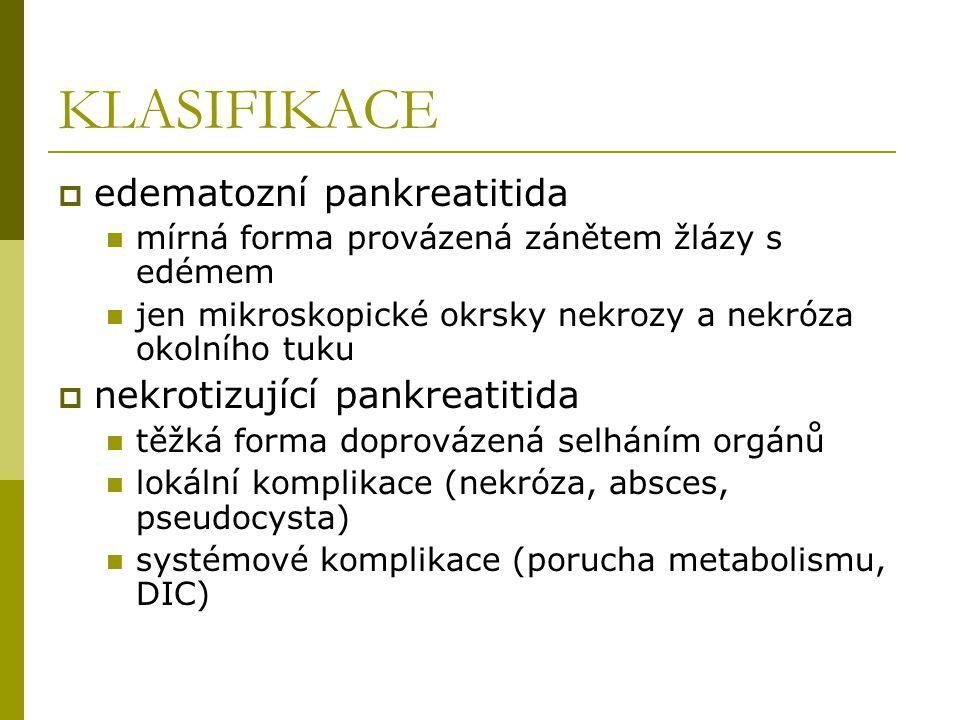 KLASIFIKACE edematozní pankreatitida nekrotizující pankreatitida