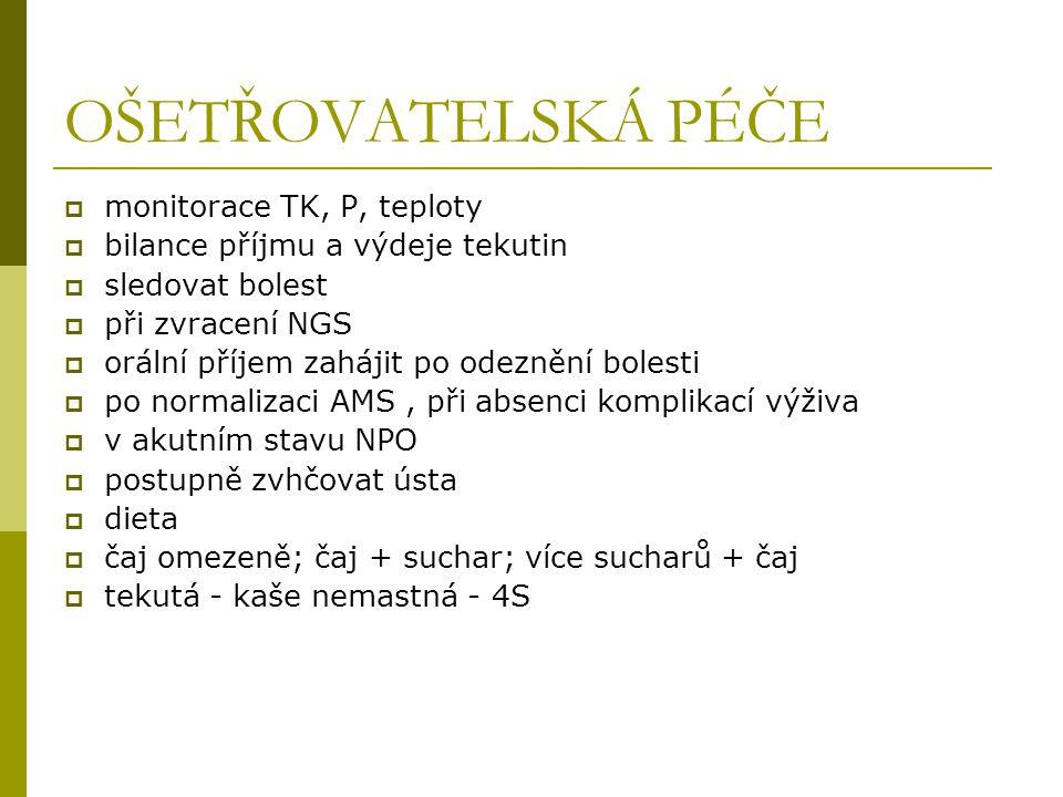 OŠETŘOVATELSKÁ PÉČE monitorace TK, P, teploty