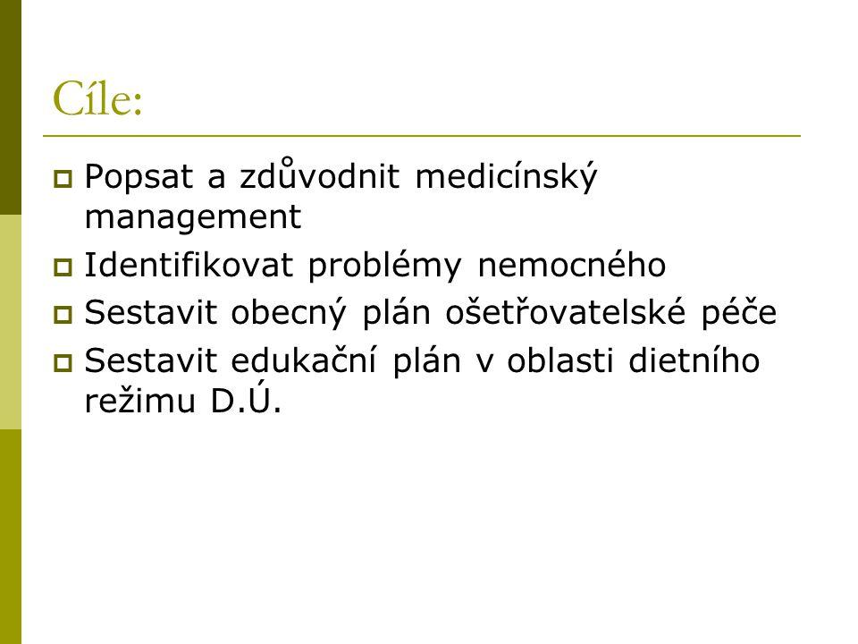 Cíle: Popsat a zdůvodnit medicínský management