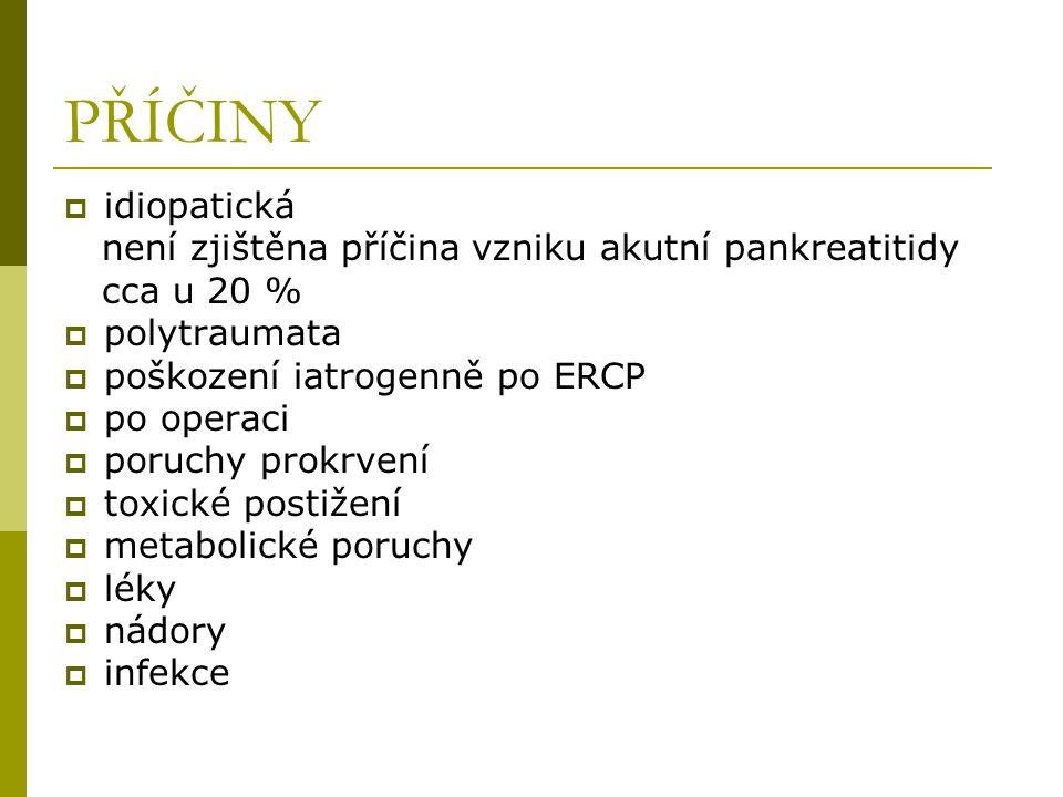 PŘÍČINY idiopatická není zjištěna příčina vzniku akutní pankreatitidy