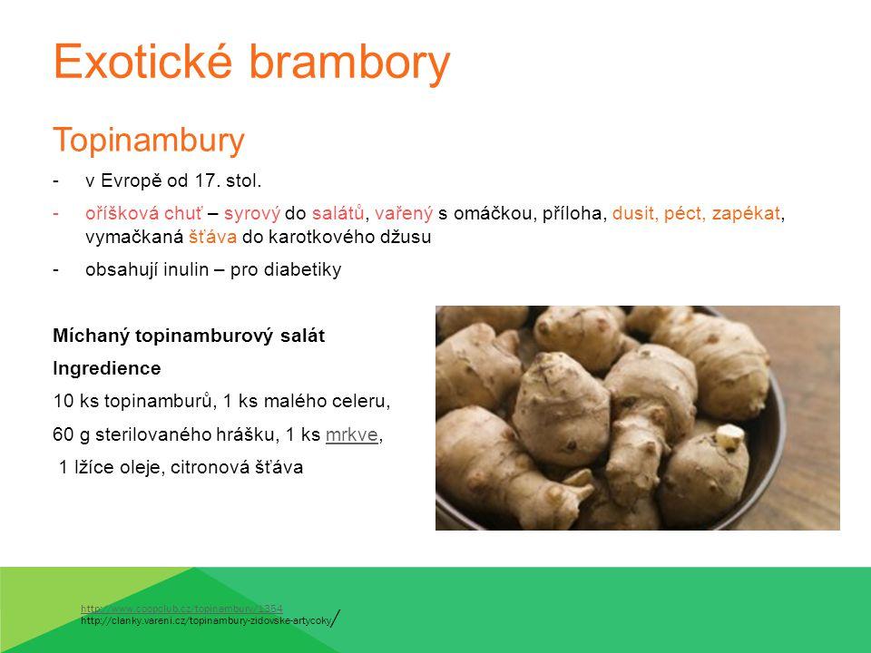 Exotické brambory Topinambury v Evropě od 17. stol.