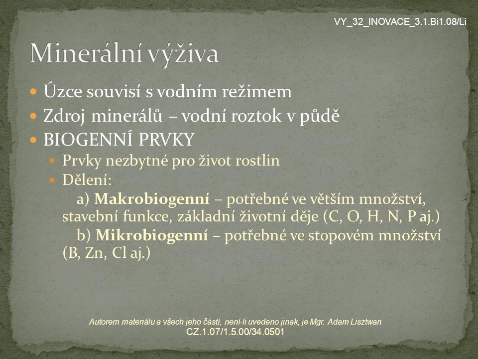 Minerální výživa Úzce souvisí s vodním režimem