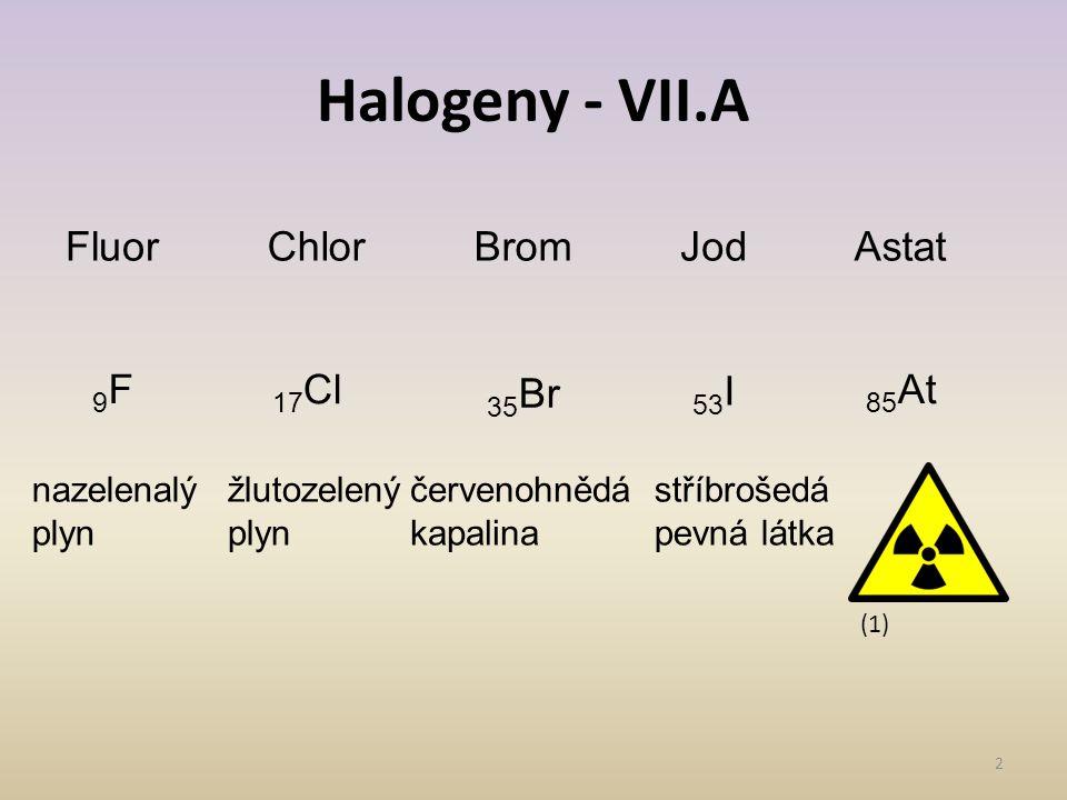 Halogeny - VII.A Fluor Chlor Brom Jod Astat 9F 17Cl 35Br 53I 85At