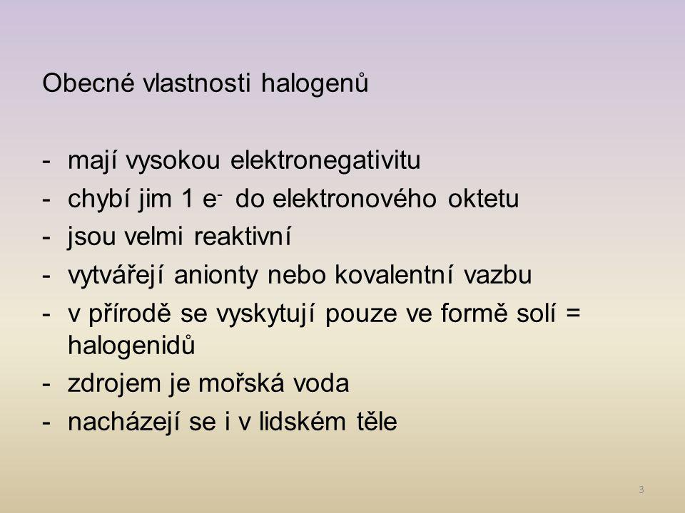 Obecné vlastnosti halogenů