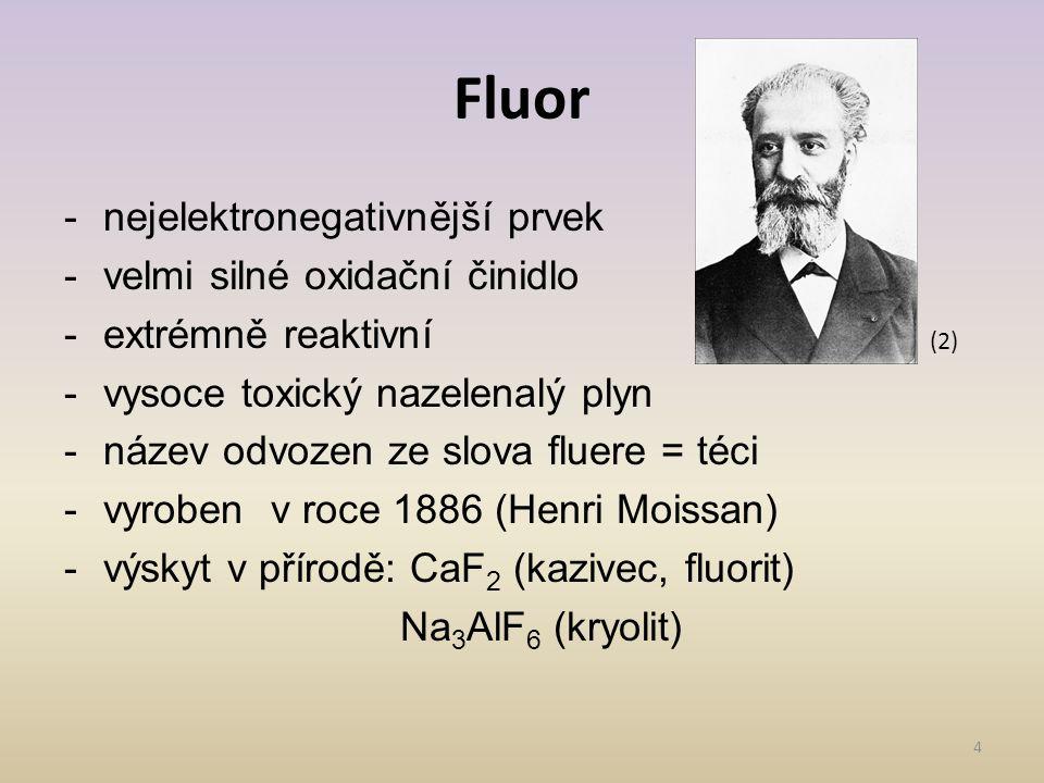 Fluor nejelektronegativnější prvek velmi silné oxidační činidlo