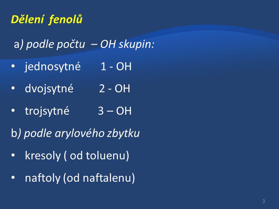 Dělení fenolů a) podle počtu – OH skupin: jednosytné 1 - OH. dvojsytné 2 - OH. trojsytné 3 – OH.