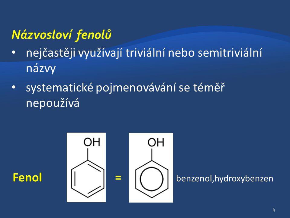 Názvosloví fenolů nejčastěji využívají triviální nebo semitriviální názvy. systematické pojmenovávání se téměř nepoužívá.