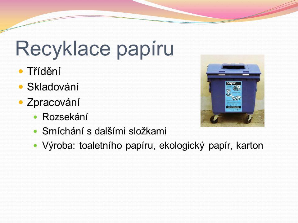 Recyklace papíru Třídění Skladování Zpracování Rozsekání
