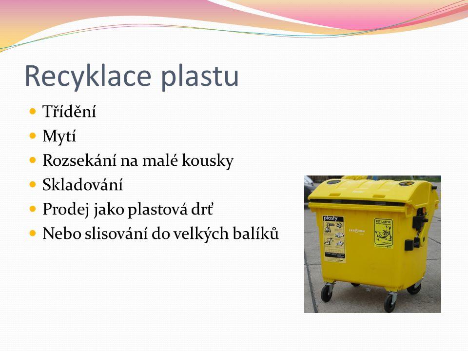 Recyklace plastu Třídění Mytí Rozsekání na malé kousky Skladování