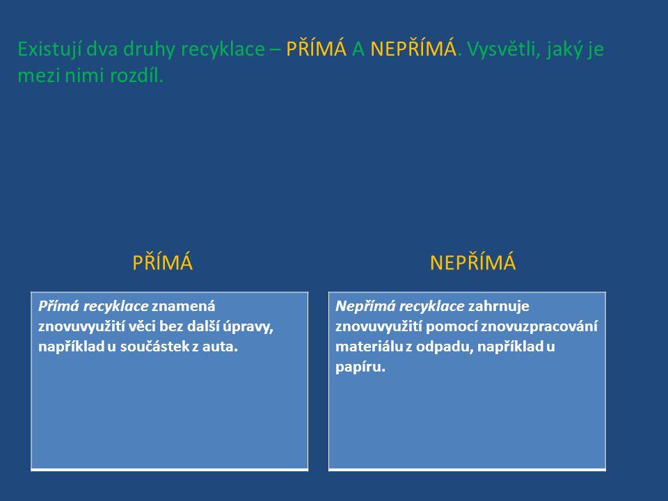 Existují dva druhy recyklace – PŘÍMÁ A NEPŘÍMÁ