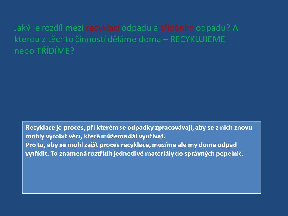 Jaký je rozdíl mezi recyklací odpadu a tříděním odpadu