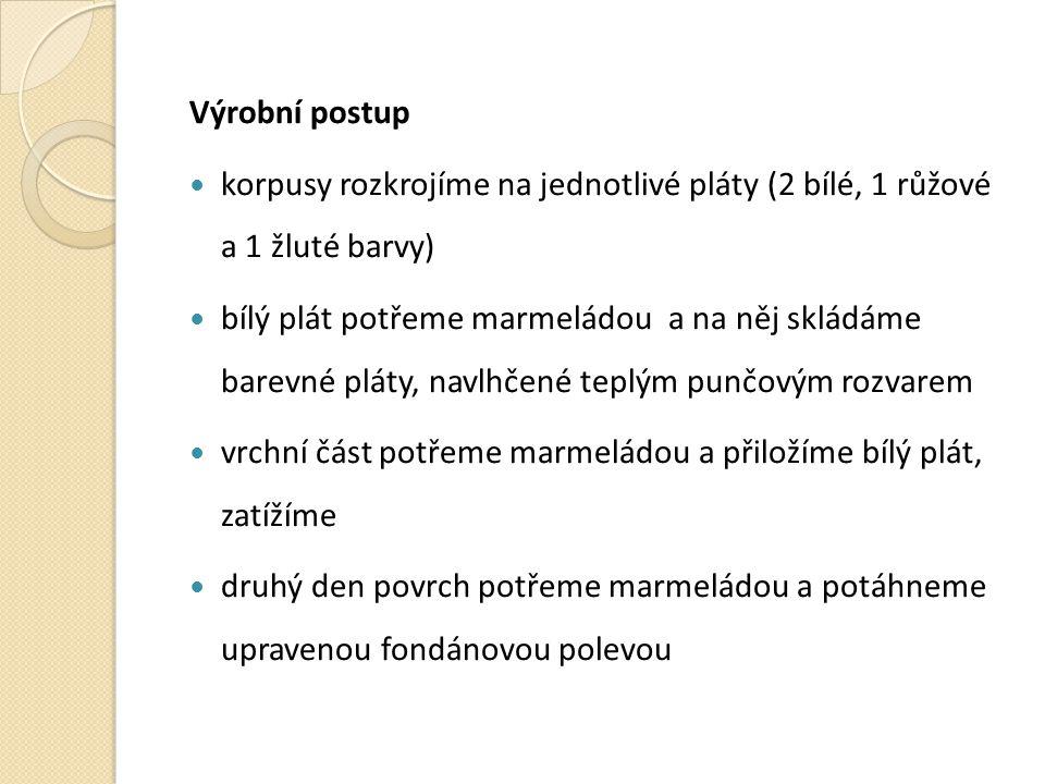 Výrobní postup korpusy rozkrojíme na jednotlivé pláty (2 bílé, 1 růžové a 1 žluté barvy)