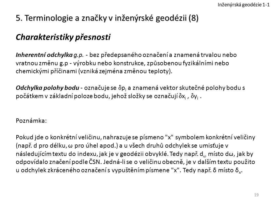 5. Terminologie a značky v inženýrské geodézii (8)