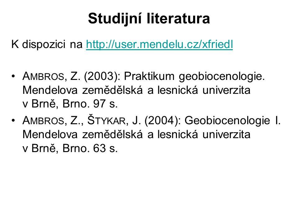 Studijní literatura K dispozici na http://user.mendelu.cz/xfriedl