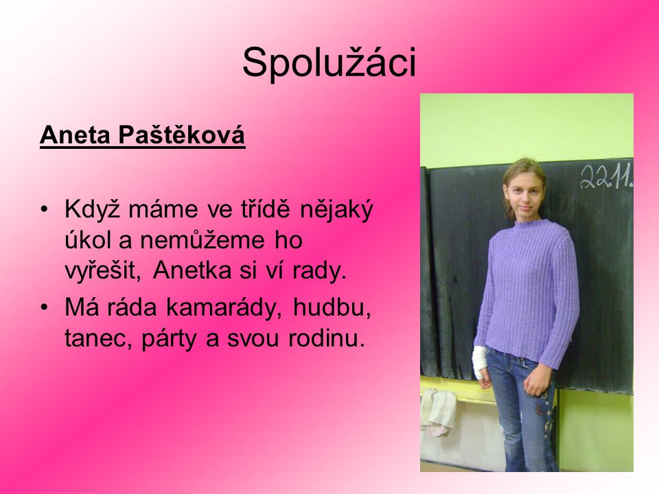 Spolužáci Aneta Paštěková