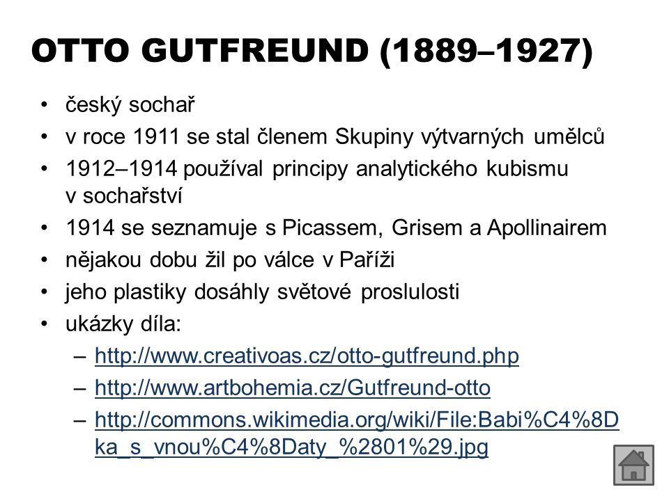 OTTO GUTFREUND (1889–1927) český sochař