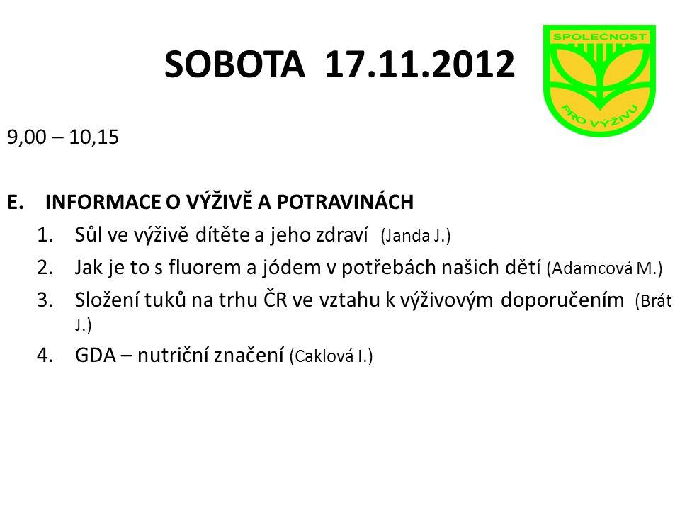 SOBOTA 17.11.2012 9,00 – 10,15 INFORMACE O VÝŽIVĚ A POTRAVINÁCH