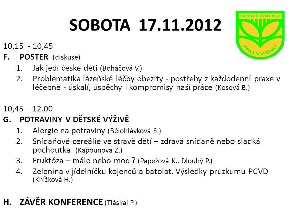 SOBOTA 17.11.2012 ZÁVĚR KONFERENCE (Tláskal P.) 10,15 - 10,45