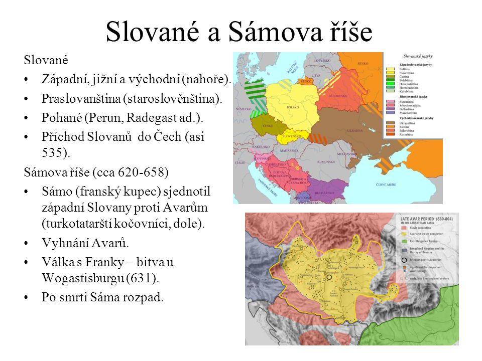 Slované a Sámova říše Slované Západní, jižní a východní (nahoře).