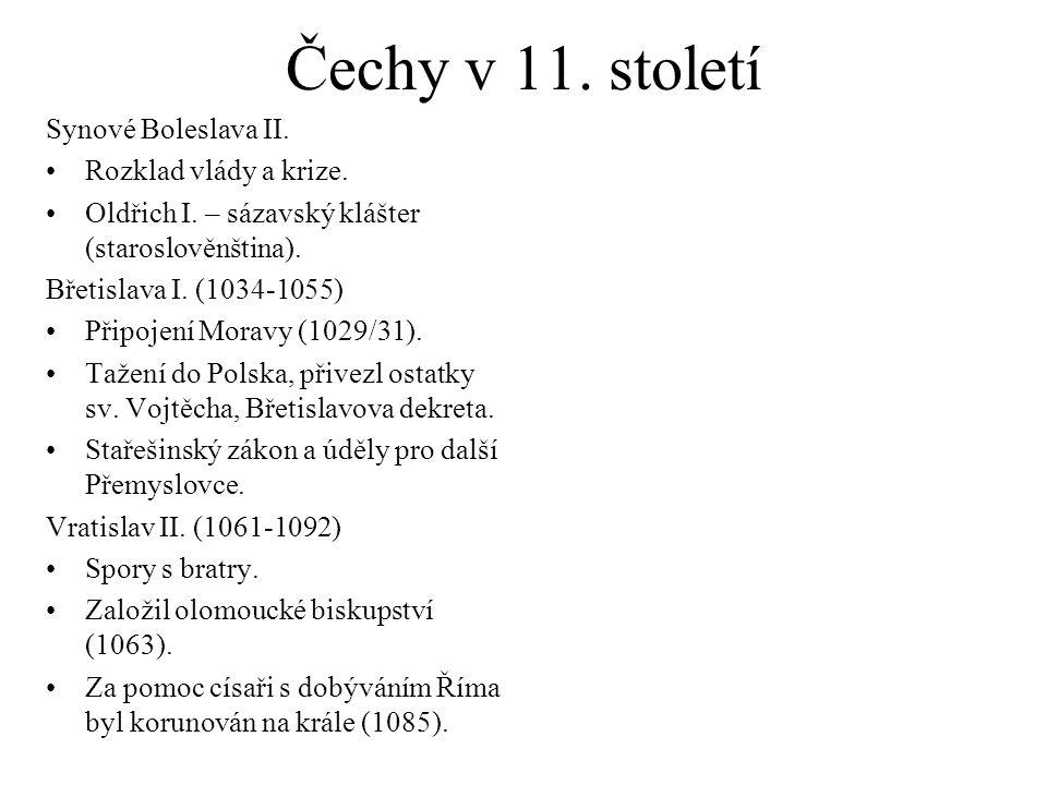 Čechy v 11. století Synové Boleslava II. Rozklad vlády a krize.
