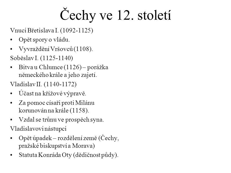 Čechy ve 12. století Vnuci Břetislava I. (1092-1125)