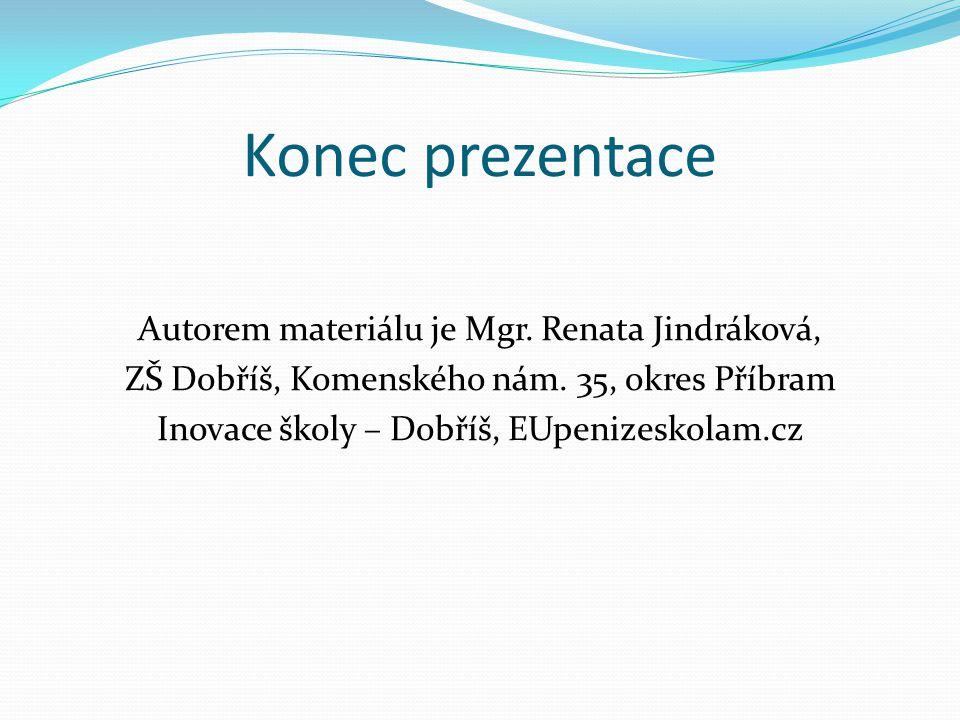 Konec prezentace Autorem materiálu je Mgr. Renata Jindráková,