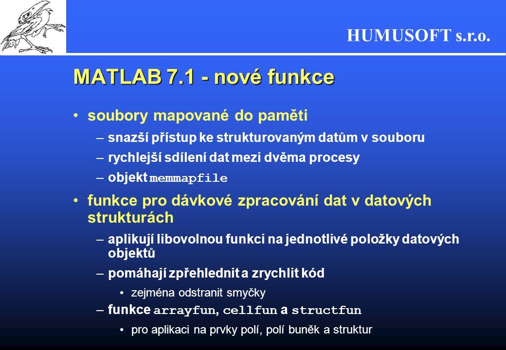 MATLAB 7.1 - nové funkce soubory mapované do paměti