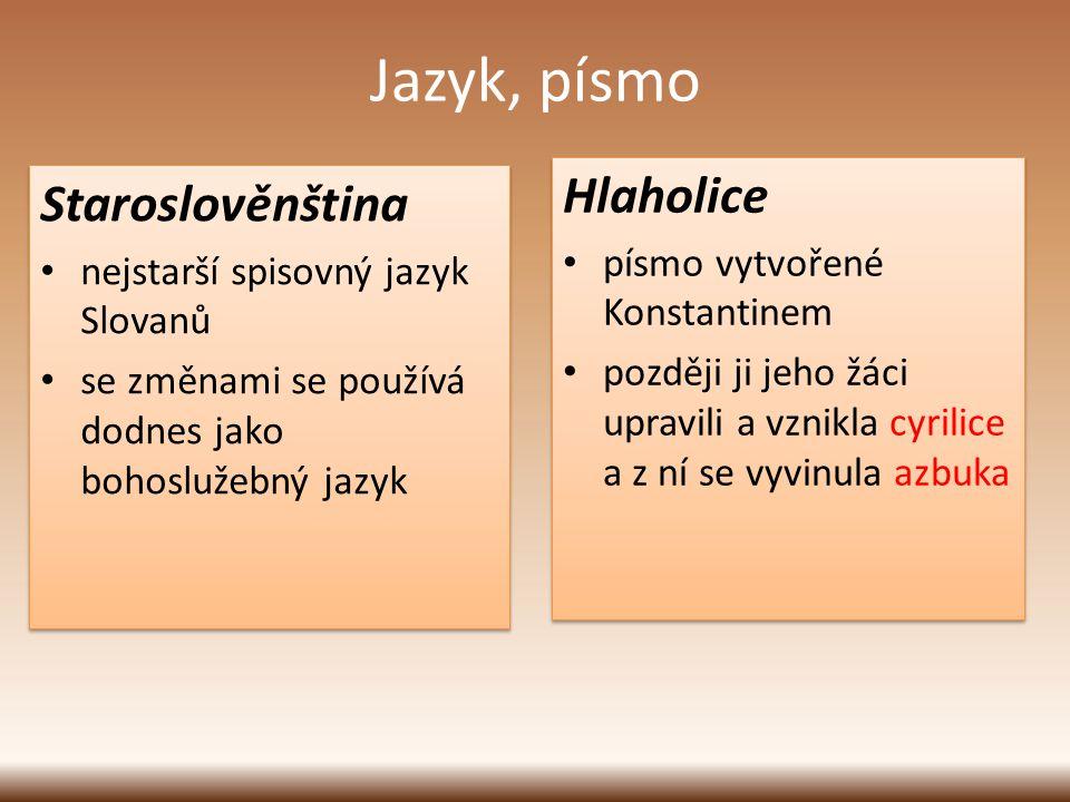 Jazyk, písmo Hlaholice Staroslověnština písmo vytvořené Konstantinem
