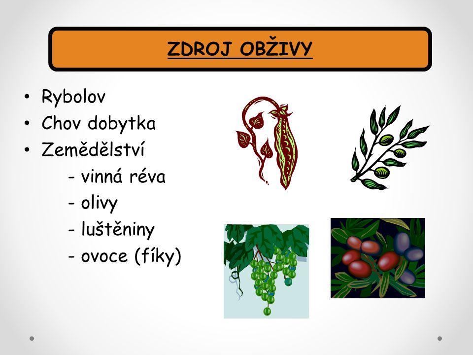 ZDROJ OBŽIVY Rybolov Chov dobytka Zemědělství - vinná réva - olivy - luštěniny - ovoce (fíky)