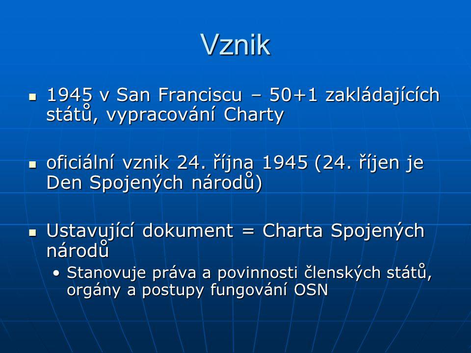 Vznik 1945 v San Franciscu – 50+1 zakládajících států, vypracování Charty. oficiální vznik 24. října 1945 (24. říjen je Den Spojených národů)