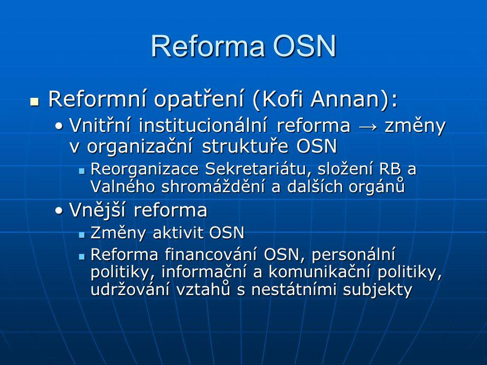 Reforma OSN Reformní opatření (Kofi Annan):