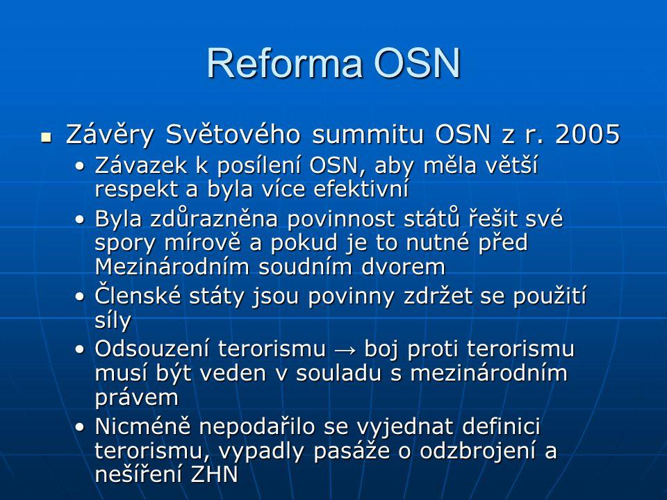 Reforma OSN Závěry Světového summitu OSN z r. 2005