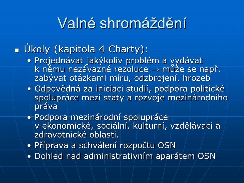 Valné shromáždění Úkoly (kapitola 4 Charty):