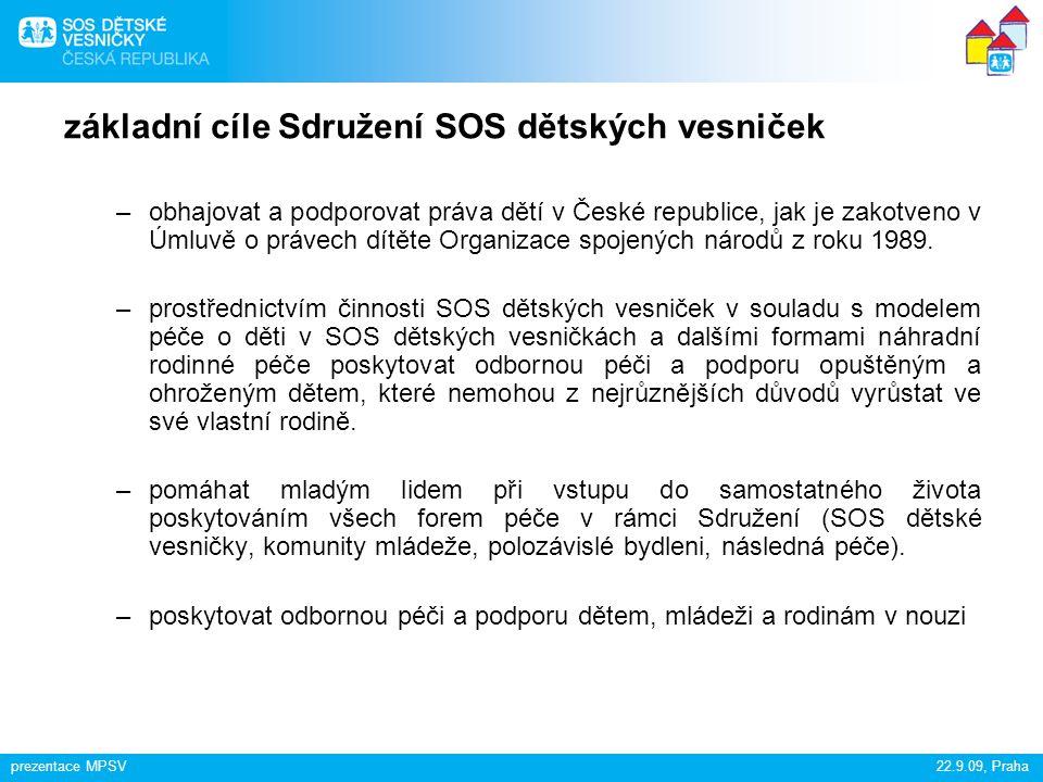 základní cíle Sdružení SOS dětských vesniček