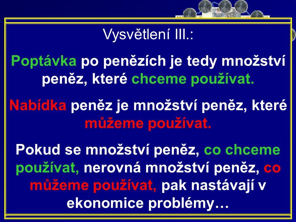 Nabídka peněz Vysvětlení III.:
