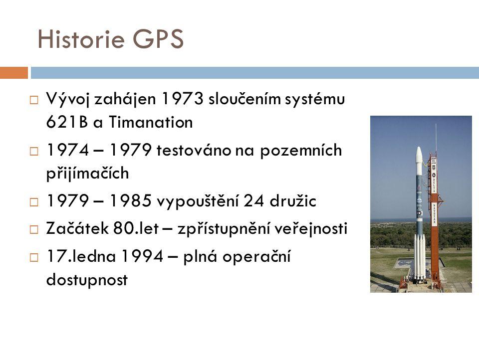 Historie GPS Vývoj zahájen 1973 sloučením systému 621B a Timanation