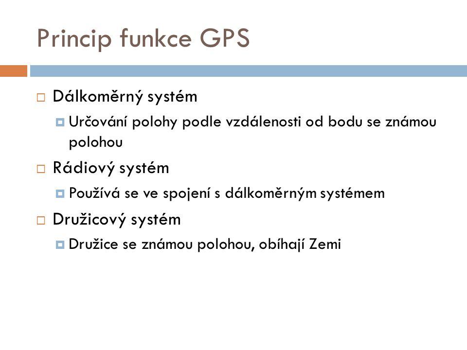 Princip funkce GPS Dálkoměrný systém Rádiový systém Družicový systém