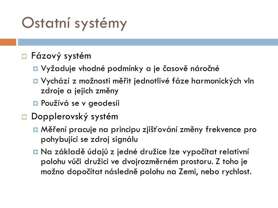 Ostatní systémy Fázový systém Dopplerovský systém